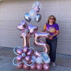 Balloon Flowers, Balloon Bouquet, Balloon Garland, 16 Balloons, Number Balloons, Birthday Balloon Decorations, Birthday Balloons, Birthday Design, Diy Birthday