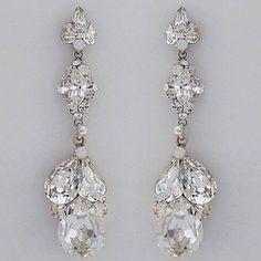 Erin Cole Crystal Bridal Chandelier Earrings. Stunning crystal teardrop bridal earrings for weddings, evening wear & black tie affairs.