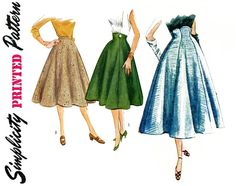 1950s Skirt Pattern Waist 28 Simplicity 4013 Flared by CynicalGirl