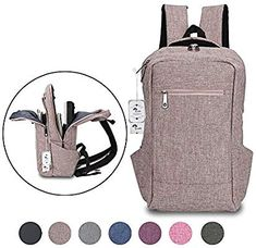 ed3ce647e86 Amazon.com  Laptop Backpack,Winblo 15 15.6 Inch College Backpacks  Lightweight Travel Daypack - Mauve Pink  Computers   Accessories