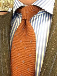 Sam Hober Tie Sky Blue On Rust Pattern Wool 5