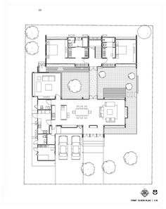 Image 19 of 30 from gallery of Nature House / Junsekino Architect and Design. First Floor Plan Villa Plan, Feng Shui Floor Plan, Floor Design, House Design, Feng Shui Bedroom Tips, Casa Patio, House In Nature, Courtyard House, House Layouts