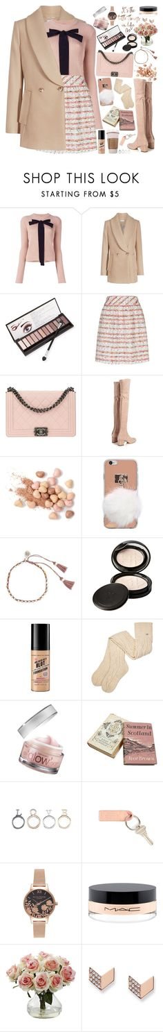 """""""Put a Bow on It!"""" by martinabb ❤ liked on Polyvore featuring Rochas, Neiman Marcus, Boutique Moschino, Chanel, Valentino, Too Faced Cosmetics, NOVICA, Beauty Is Life, Soap & Glory and UGG"""
