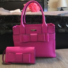 """Kate Spade bow purse and wallet! Beautiful Kate Spade """"pink"""" bow purse. New without tags. Dress it up and great for summertime! kate spade Bags Shoulder Bags"""