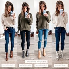 How To Wear Skinny Jeans With Booties - - Talking about how to wear ankle boots and giving you oodles of outfit inspiration from wearing ankle booties with leggings to cuffed jeans and more! Short Boots Outfit, Ankle Boots Outfit Winter, Brown Boots Outfit, Winter Boots Outfits, How To Wear Ankle Boots, High Ankle Boots, Ankle Boot Outfits, Ankle Boots Skinny Jeans, Ankle Boots With Leggings