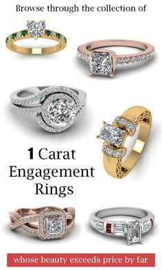 Browse throught the unique collection of 1 carat engagement rings whoes beauty exceeds the price by far