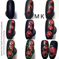 Rose Nail Art, Rose Nails, Flower Nail Art, One Stroke Nails, Extension Designs, One Stroke Painting, Nail Tutorials, Simple Nails, Diy Nails