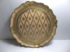 "Vintage Italian Florentine TOLEWARE Tray PINK GOLD 14"" Hollywood Regency #HollywoodRegency #MadeInItaly"