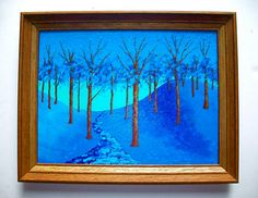 Twilight Woods Original Acrylic Painting 12 x 16 by MikeKrausArt