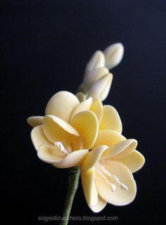 Freesia, sugar flowers = pretty!  ♥