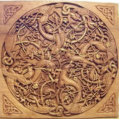 celtic wood carving
