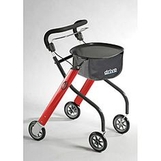 Lets Go Indoor Walker Rollator - Brake and operate with just one hand. Convenient when you have to hold on to a hand rail, person, or ther thing. Allows better steering and control. This is light weight and folds easily. Mine is all silver & gray, not red.