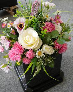 Artificial silk flower grave arrangement, filled pot, flower vase, flower vase in Home, Furniture & DIY, Celebrations & Occasions, Memorials & Funerals | eBay