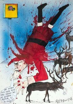 Ralph Steadman Signed Santa Gets Snapped Art Print