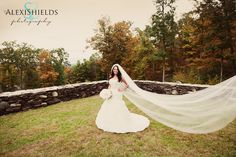 Beautiful Bridal Picture, outside in the fall with beautiful colors.    Alexi Shields Photography