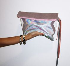 Geometric Holographic // Fold over Leather Clutch by gmaloudesigns, $89.99