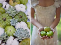 Southern wedding table setting with lace tablecloth, gorgeous succulents, green tomatoes and natural cotton. Swoon now.