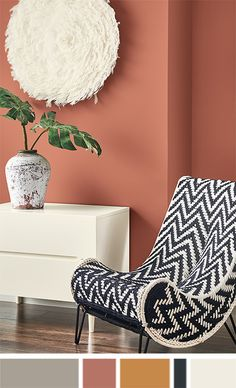Modern chair sits next to dresser with plant in vase under tufted artwork. House Color Schemes Interior, House Paint Interior, Paint Color Schemes, Interior Paint Colors, Interior Design Living Room, Room Wall Colors, Paint Colors For Living Room, Paint Colors For Home, House Colors