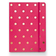raspberry polka dot journal.