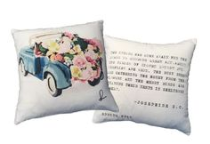 Pillow Cover, Spring Pillow Cover, Red Truck Pillow