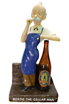 Advertising Bar Figure - plaster - 'Bertie the Cellar Man' - iconic figure of 'Ballarat Bertie' leaning on an original… / MAD on Collections - Browse and find over 10,000 categories of collectables from around the world - antiques, stamps, coins, memorabilia, art, bottles, jewellery, furniture, medals, toys and more at madoncollections.com. Free to view - Free to Register - Visit today. #Advertising #Collectables #MADonCollections #MADonC