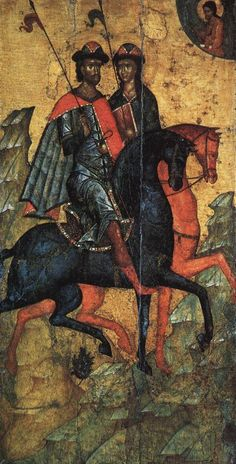Ikon of Saints Boris and Gleb on Horseback by an unknown artist, second half of 14th century