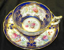 ROYAL CHELSEA ROYALTY BLUE WHITE GOLD TEA CUP AND SAUCER 0020000