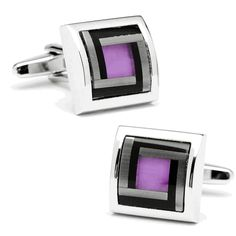 hese cufflinks are the perfect accessory for the well dressed man. Purple cat's eye stone is perfect for adding personalization.