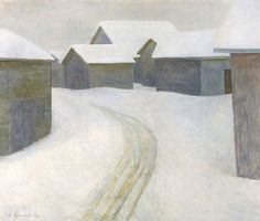Vionoja, Veikko (Finnish, The Old Village, Oil on canvas. From Finnish National Gallery - Art Collections. Building Painting, Snow Art, Unique Buildings, Colorful Paintings, Small Paintings, Canadian Art, Snowy Day, Landscape Paintings, Barn Paintings