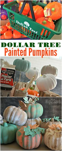 Pumpkin Crafts With Dollar Tree Items You won't believe these DIY painted, farmhouse style pumpkins are actually from the Dollar Tree!You won't believe these DIY painted, farmhouse style pumpkins are actually from the Dollar Tree! Dollar Tree Pumpkins, Dollar Tree Fall, Foam Pumpkins, Dollar Tree Decor, Dollar Tree Crafts, Painted Pumpkins, Dollar Tree Halloween Decor, Dollar Tree Flowers, Plastic Pumpkins