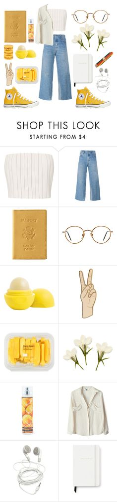 """fake happy"" by alibet ❤ liked on Polyvore featuring Thierry Mugler, RE/DONE, Converse, Royce Leather, GlassesUSA, Eos, Lucky Brand, MANGO, Nicole Miller and To Be Adored"