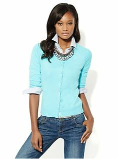 Chelsea Cardigan - Pleated Neck from New York & Company
