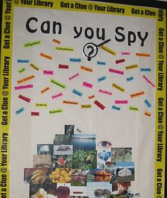 Eye Spy bulletin board idea for the library (I would focus on book characters, settings, etc. though) - Summer Reading have on a panel Interactive Bulletin Boards, Library Bulletin Boards, Bulletin Board Display, Classroom Themes, Classroom Organization, Library Displays, Book Displays, I Love School, Library Inspiration
