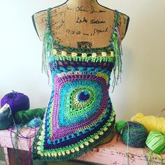"""163 Likes, 22 Comments - Starlily Creations (@starlilycreations) on Instagram: """"Having fun designing a free form piece with the peacock motif  #crochet"""""""
