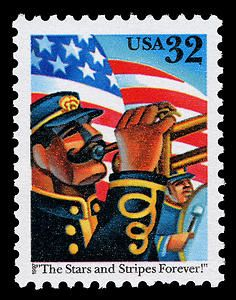 "Celebrating John Philip Sousa's ""The Stars and Stripes Forever!"" march, this patriotic stamp was issued in 1997."