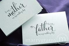 Wedding Card to Your Mother and Father Parents of by marrygrams