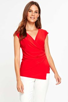 4d4ecb0fa6a5e Red Wrap Front Top - Tops - Clothing