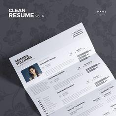 Clean Resume Vol. 6  Photoshop Word and by #TheResumeCreator  #Lebenslauf #Cv #CurriculumVitae #Resume