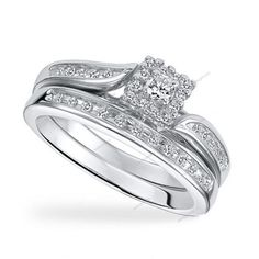 Halo Prong Setting 0.71 CT VVS1 Diamond Silver Wedding Bridal Bypass Ring Set…