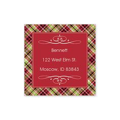 Christmas Cheer Labels by Take Note! Designs (Set of 60). This festive red sticker is ideal as a gift tag sticker or as an address label. A traditional plaid border and a pair of white flourishes are the perfect accent to your personalized text.. Price: $35.00