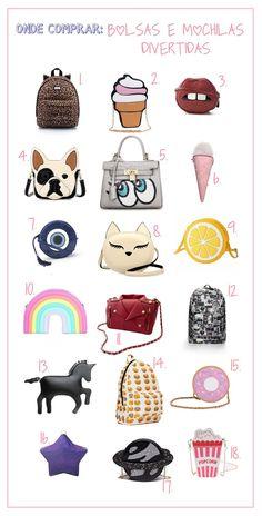 onde comprar, bolsas, divertidas, mochilas, looks, fashion, como usar, inspiração, loja online, dicas, estilo,