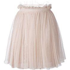 Alexander McQueen floral lace flared skirt ($1,726) ❤ liked on Polyvore featuring skirts, beige, metallic skirt, flower print skirt, pink skater skirt, circle skirt and lace skater skirt
