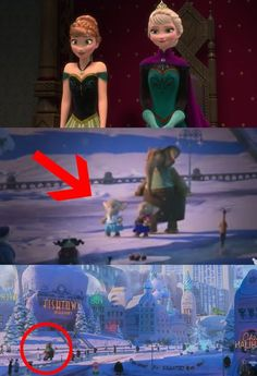 """And these little elephants in Zootopia wearing Elsa and Anna costumes from Frozen!   Disney Just Revealed Some Clever Easter Eggs Hidden In """"Moana,"""" """"Zootopia,"""" And """"Frozen"""""""