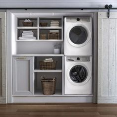 Laundry room cabinets get inspired by our laundry room storage ideas and designs. Allow us to help you create a functional laundry room with plenty of storage and wall cabinets that will keep your laundry. Small Laundry Rooms, Laundry Room Organization, Laundry Room Design, Laundry In Bathroom, Laundry In Kitchen, Basement Laundry, Laundry Room Doors, Closet Doors, Closet Laundry Rooms