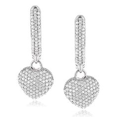 Romantic hearts are decorated with haute round-cut diamonds to form these gorgeous pave-set dangle earrings. Crafted with 14 karat white or yellow gold, these glamorous hoop-style earrings secure with