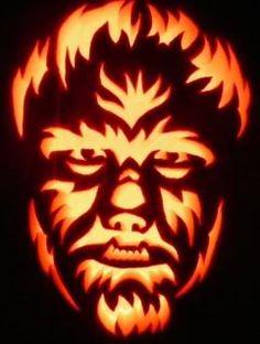 Looks like Lon Chaney Jr. in the Wolf man Pumpkin Stencil, Pumpkin Art, Pumpkin Faces, Pumpkin Crafts, Pumpkin Ideas, Candy Pumpkin, Pumpkin Designs, Pumpkin Recipes, Halloween Pumpkins