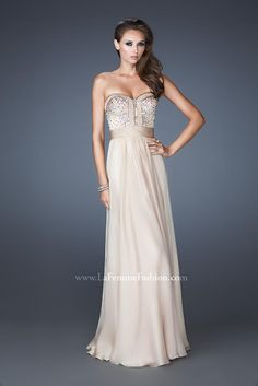 Nice subtle champagne color prom dress with and edgier top.
