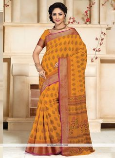 Gripping Lace Work Cotton   Casual Saree