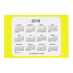 2017 lavender laminated holiday calendar by janz placemat zazzle 2018 yellow laminated holiday calendar by janz placemat reheart Image collections
