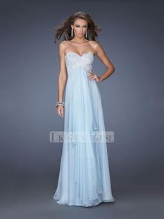 Strapless Sweetheart Beaded Appliques Empire Tiered Skirt Chiffon Prom Dress PD11716
